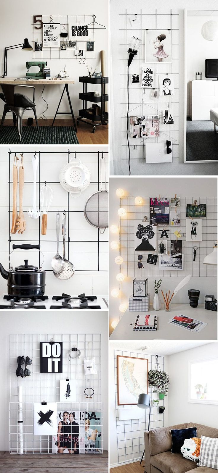 """These metal grid wall organizers are calling, """"Make me!"""" They all look so good in these photos, but a big part of that is the expert styling. If I make my own, will I be able to curate it so perfectly? I guess we'll find out, since I'm to the point where I've been casually trawling …"""