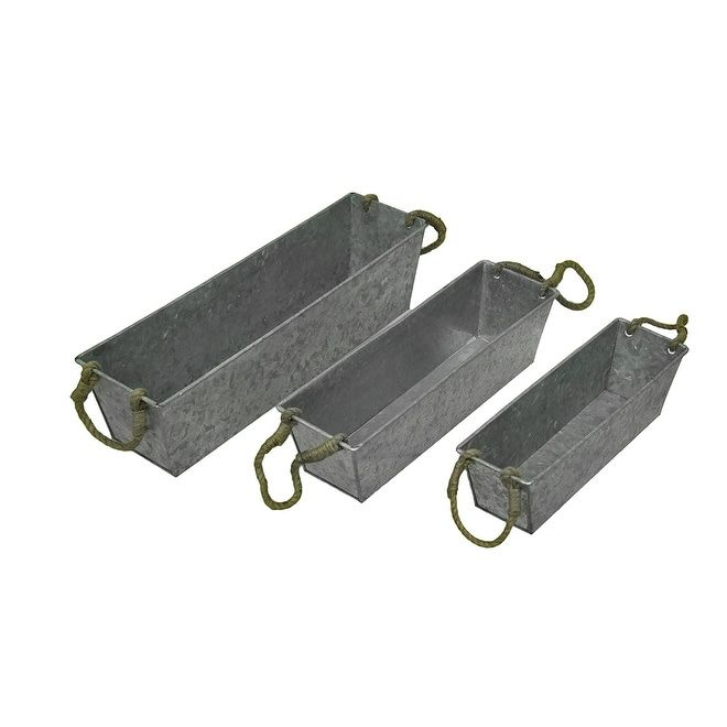 Set of 3 Galvanized Metal Rectangular Planters w/Jute Handles, Silver #50660,61 & 62, Outdoor Décor