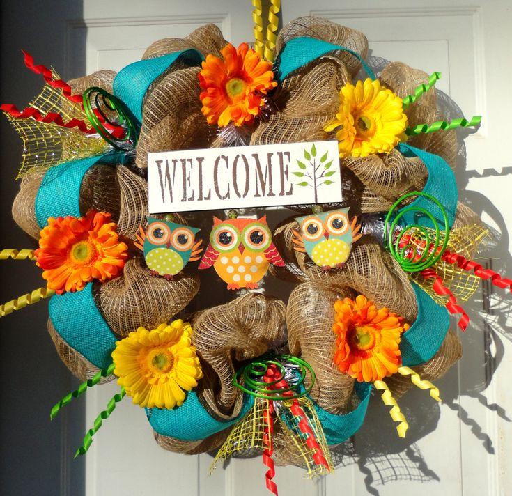 ONLY 1 LEFT - Spring Deco Mesh Wreath - Summer Deco Mesh - Burlap Wreath - Owl Wreath - Owl Decor - Spring/Summer Decoration - Door Decor. $88.00, via Etsy.