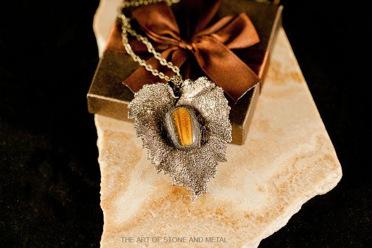 Купить Кулон мельхиоровой с кабошоном из камня тигровый глаз - кулон, кулон с камнем, тигровый глаз