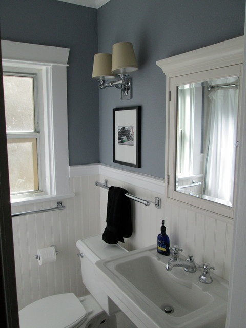 I love bead board!  Gray and white bathroom