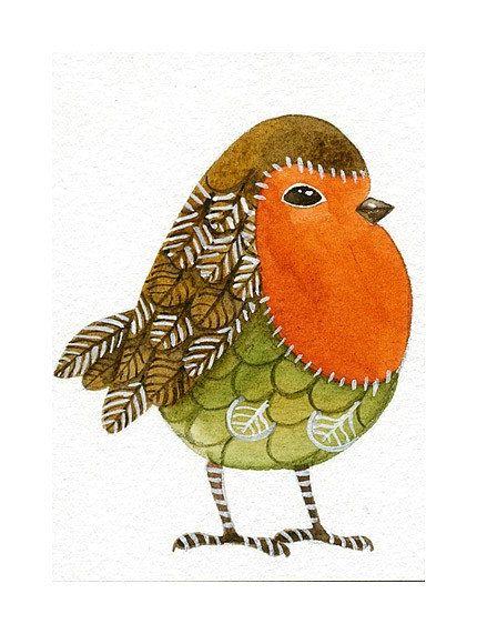 ACEO Art Bird Original Watercolor - Bird No.27 - Painted by Lorisworld. $15.00, via Etsy.