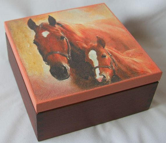 Wooden decoupaged box with two horses,