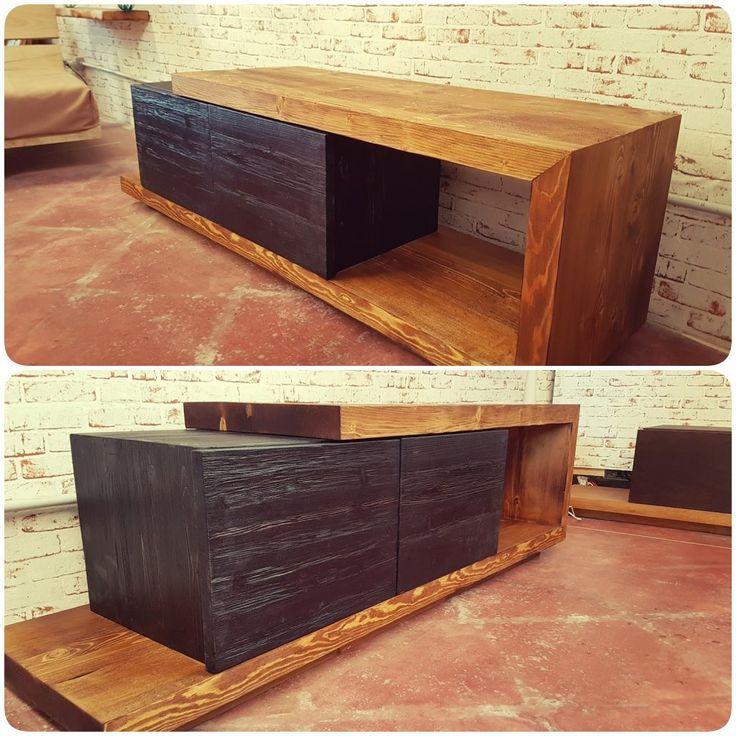 Mobile-porta-tv-legno-massello-effetto-rustico-Grand-Noir ...