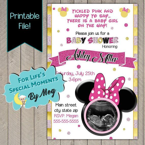 Minnie Mouse Custom Baby Shower Invitation - Printable file - It's a Girl Baby Shower Invite with Sonogram