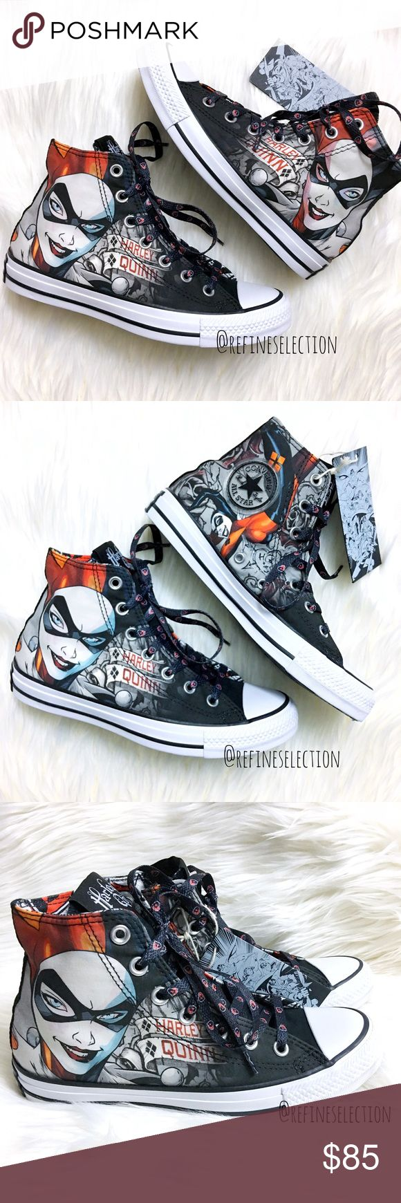 Converse Harley Quinn Chuck Taylor Hi Top Sneakers Brand new in box (without lid), Women's 6.5. These Converse DC Comics Harley Quinn Chuck Taylor All Stars Hi Top Sneakers are a must have for any fan! Has an amazing graphic of Harley Quinn all over, with limited edition black shoelaces made just for these sneakers! Also includes a pair of white shoelaces to switch things up. Harley Quinn is also displayed on the tongue. A fun & quirky Quinn print is inside the sneaker as well. Must have for…