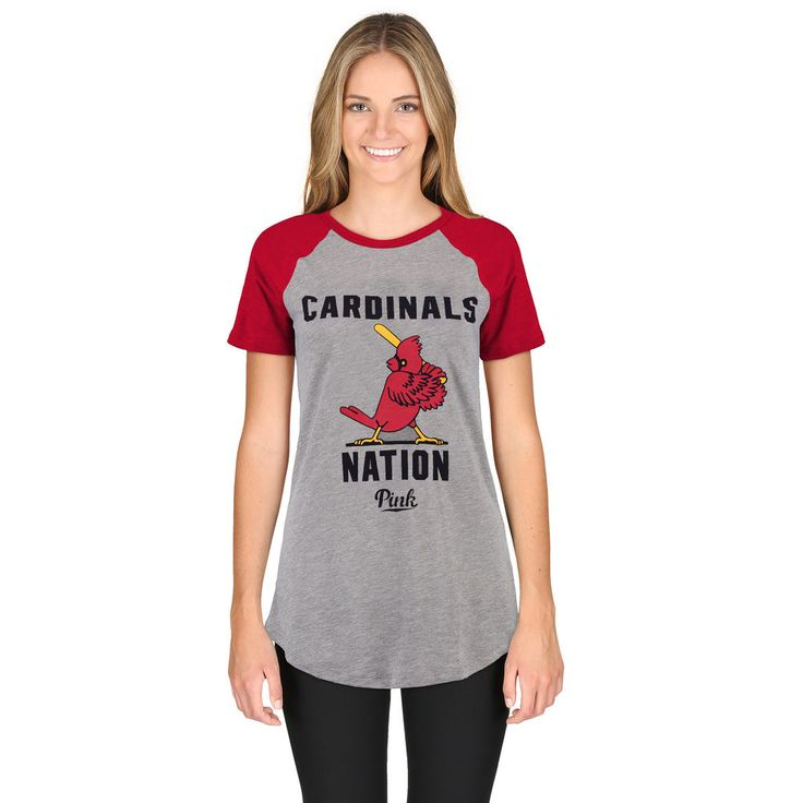 Women's St. Louis Cardinals PINK by Victoria's Secret Gray/Red Spring Training Perfect Raglan T-Shirt