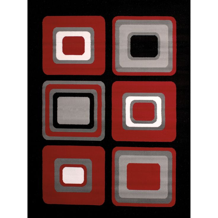 "Westfield Home Montclaire Contemporary Color Blocks Red Accent Rug - 1'11"" x 3'3"", Size 1'11"" x 3'3"""