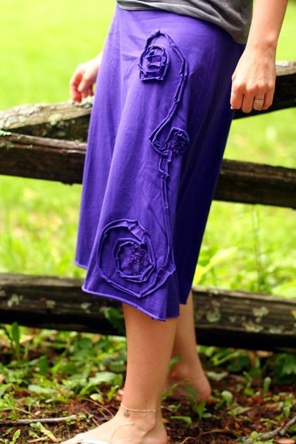 Climbing Flowers Soft Waist Skirt in Purple Medium by ACrunchyLife - StyleSays