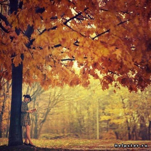 Картинки на аву девушки в осеннем лесу
