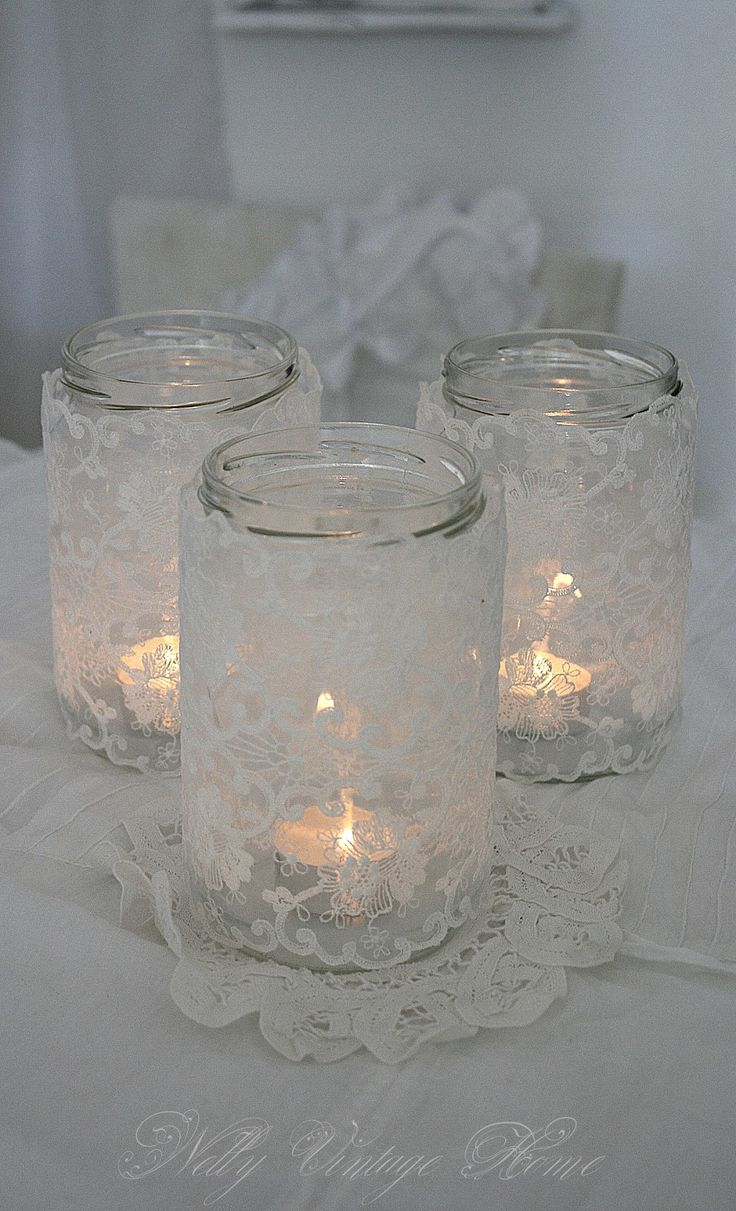 lace covered jars by nelly vintage home