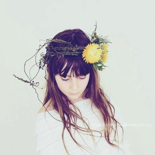 Dodda vine and yellow paper daisies crown.   Floral design by Sapphire Designs www.sapphiredesigns.com.au  Photography by NFE Design  www.notforeating.com.au