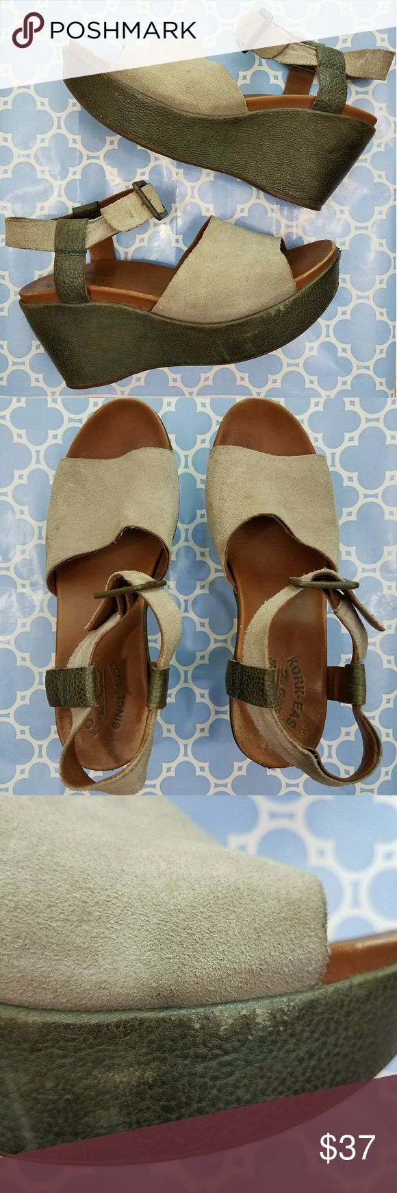 Kork-Ease Keirn Suede Platform Sandals Kork-Ease Keirn Suede Platform Sandals  These smash hit, sold out sandals are true to size and extraordinarily comfortable.  These shoes have seen a lot of love, see pics, but they are still very much wearable, ready to love again, and thinking it could be a lifelong connection due to their impeccable craftsmanship. They look amazing with an oversized orange and white t shirt and high waisted straight leg vintage jeans!  Leather upper and lining…