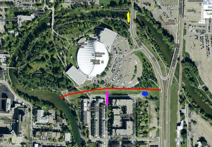 Here is the google map of the area showing where the Elbow river took a short cut down 22 Ave SW and over Macleod Trail. The pink area is the street that is all flooded. The blue area had huge waves big enough to surf except for all the debris.