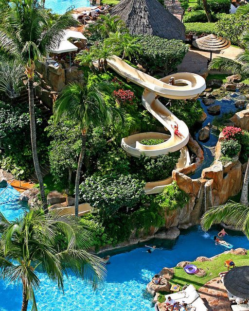 The Westin Maui Resort & Spa, Hawaii - This is like the ultimate Family vacation spot! Hawaii AND a water slide?!