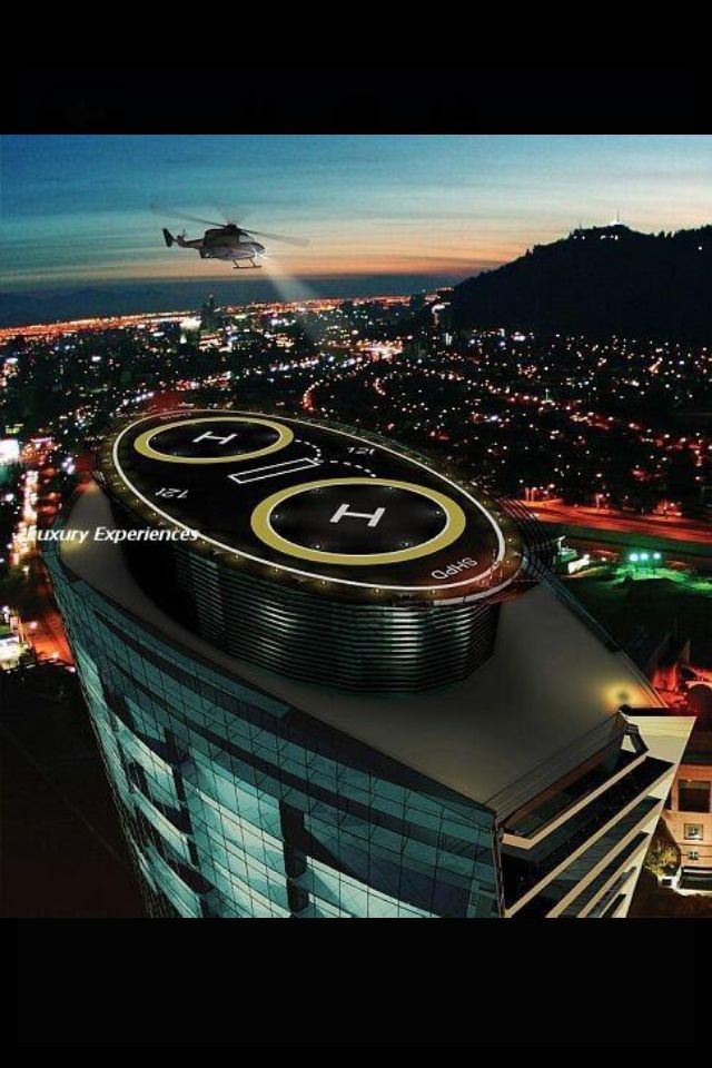 Arriving at the helipad.
