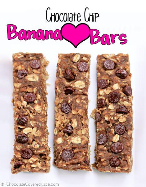 Chocolate Chip Banana Protein Bars with NO added sugar: http://chocolatecoveredkatie.com/2014/09/18/sugar-free-granola-bars/