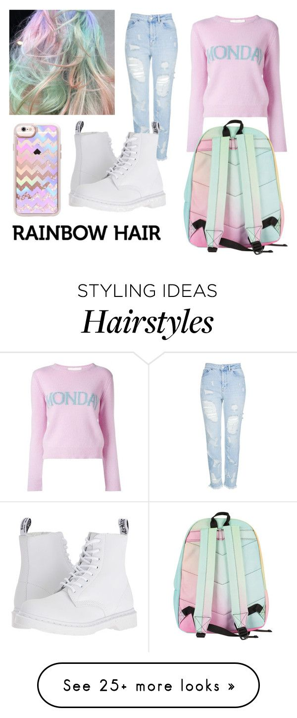 """""""Pastel rainbow hair match"""" by mell-oh-dee on Polyvore featuring Topshop, Casetify, Alberta Ferretti and Dr. Martens"""