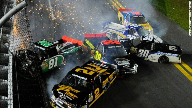 Eight cars wreck during the NASCAR