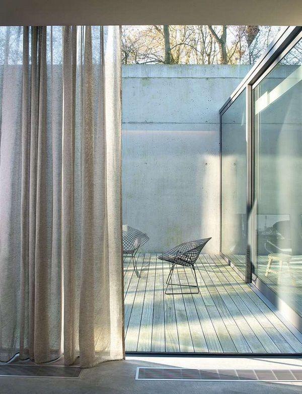 Modern linen fabric thin transparent drab terraced modern curtains