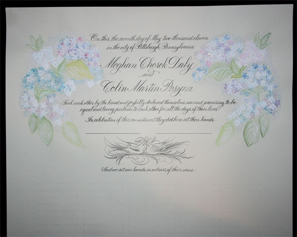 Calligraphy wedding certificate with hydrangeas hand