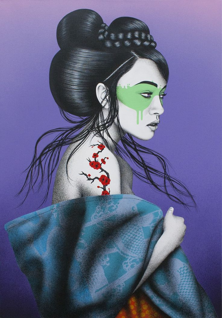 Okurimono - Acrylic, spray and stencil on 70 x 100 cm linen canvas