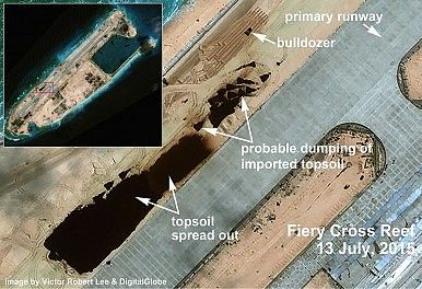 Fiery Cross Reef close-up of China's construction. By Victor Robert Lee. http://thediplomat.com/2015/09/south-china-sea-satellite-imagery-shows-chinas-buildup-on-fiery-cross-reef/