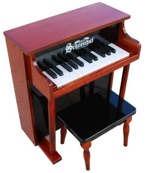 The Well Appointed House Schoenhut 25 Key Traditional Spinet Piano in Mahogany/Black for Kids