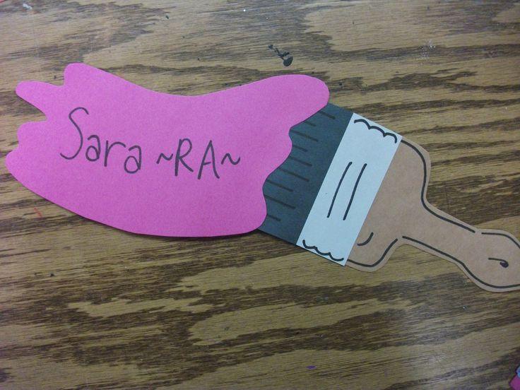 Door Name Tag Ideas Paint brush door dec- super