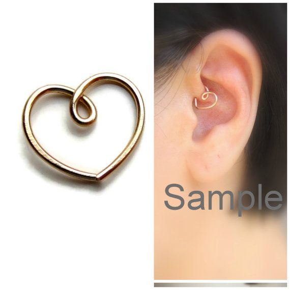 gold daith heart earring daith piercing one 1 by graceearrings jewelry. Black Bedroom Furniture Sets. Home Design Ideas