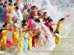 Chinese water splashing festival. I didn't know they do it in China, but it is a HUGE festival in Thailand in April. So fun.