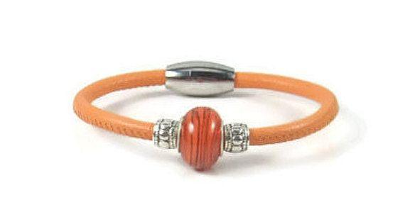 Orange Leather Wrap Bracelet Womens Leather Bracelet Womens