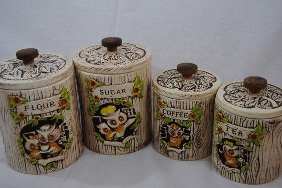 owl kitchen canisters sets newhairstylesformen2014 com vintage 1970s ceramic owl canister set double faced