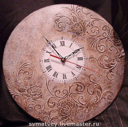 """Часы """"Тирамису"""" - часы настенные,часы интерьерные,часы,розы,тирамису,шоколадный цвет"""