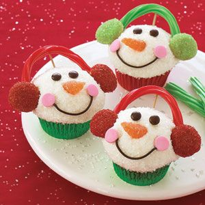 Snowman Cupcakes and many other Recipes for Christmas sweets.