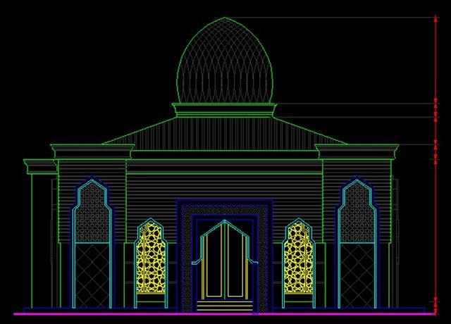 Gambar Kerja Masjid 1 Lantai 15x15 File Dwg Lantai Tempat Ibadah Desain