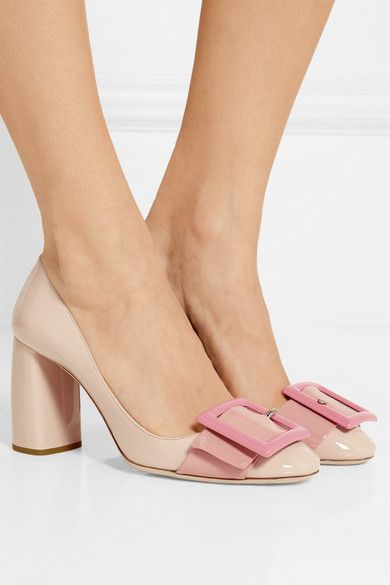 Heel measures approximately 85mm/ 3.5 inches Beige patent-leather Slip on Made in Italy