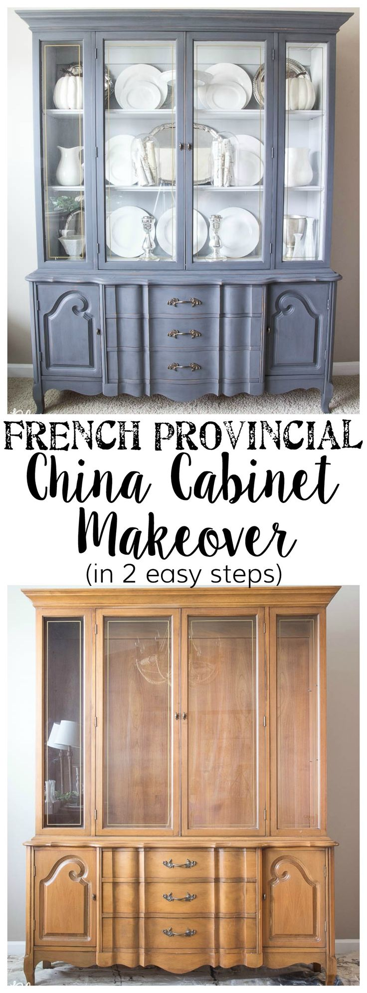 Great tips on paint to use and deglosser -- French Provincial China Cabinet Makeover in 2 Easy Steps | blesserhouse.com
