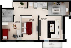 Schita apartamentelor cu trei camere din cartierul Casa Nobel