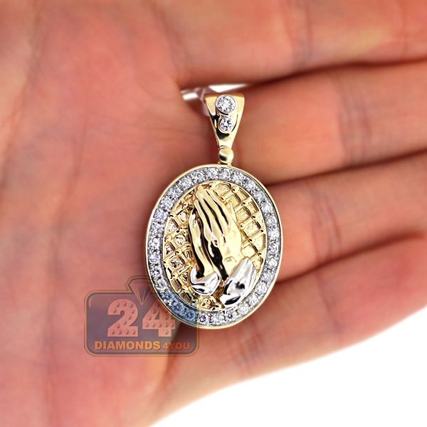 Mens Diamond Praying Hands Pendant 14k Yellow Gold 1 22ct Mens Pendant Plain Gold Pendant Pendant