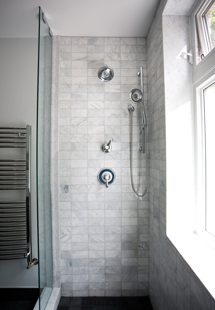 Railroad tile layout - marble shower