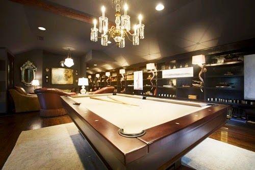 Luxurious Modern Billiard Room Design with Chandelier Lighting Ideas