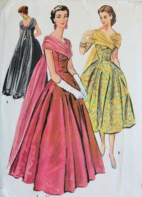 1950s LOVELY EVENING DRESS PATTERN FLATTERING CROSSED FLOATING DRAPE McCALLS 3817