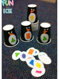 Penguin Egg Shape Match Game (free printable; from Fun in ECSE)