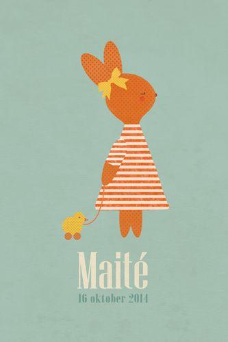 Geboortekaartje meisje - Maité - Lief konijnenmeisje met eendje - Pimpelpluis  https://www.facebook.com/pages/Pimpelpluis/188675421305550?ref=hl (# konijn - konijntje - dieren - strik - schattig - speelgoed - eend - origineel)