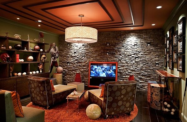 Eclectic media rooms showcases sports memorabilia beautifully