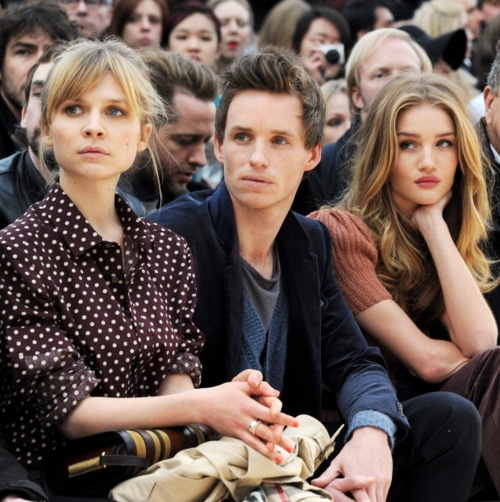 Clemence, Eddie and Rosie at Burberry Fall/Winter '2012.: Burberry Fashion, Fashion Week, Eddie Redmayne, 2012 Womenswear, Row Celebrity, Celebrity Fashion, Beautiful People, Week 2012, Front Row