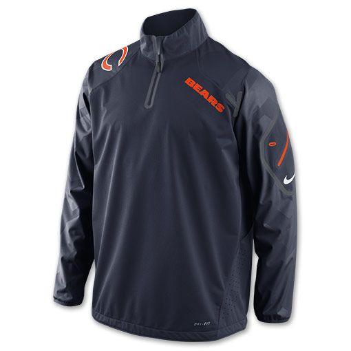 Men's Nike Chicago Bears NFL Fly Rush Half-Zip Running Shirt| FinishLine.com | Marine