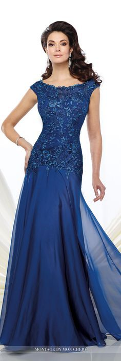Montage by Mon Cheri - 216962 - Two-tone chiffon and metallic lace fit and flare gown with slight cap sleeves, illusion lace bateau neckline over sweetheart bodice with dropped waistline, keyhole back, gathered skirt with sweep train. Matching shawl included.Sizes: 4 - 20Colors: Light Gold, Sapphire, Blue Smoke