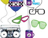 80's Photo Prop Printables - Shutter Shades, Nerdy glasses - INSTANT DOWNLOAD